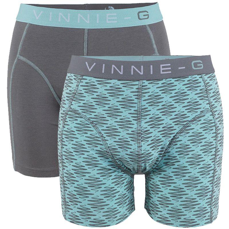 Vinnie-G boxershorts Mint Print - Grey 2-Pack-M