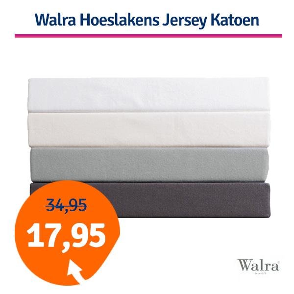 Walra Hoeslaken Jersey Katoen Licht Grijs-180/200x200/220