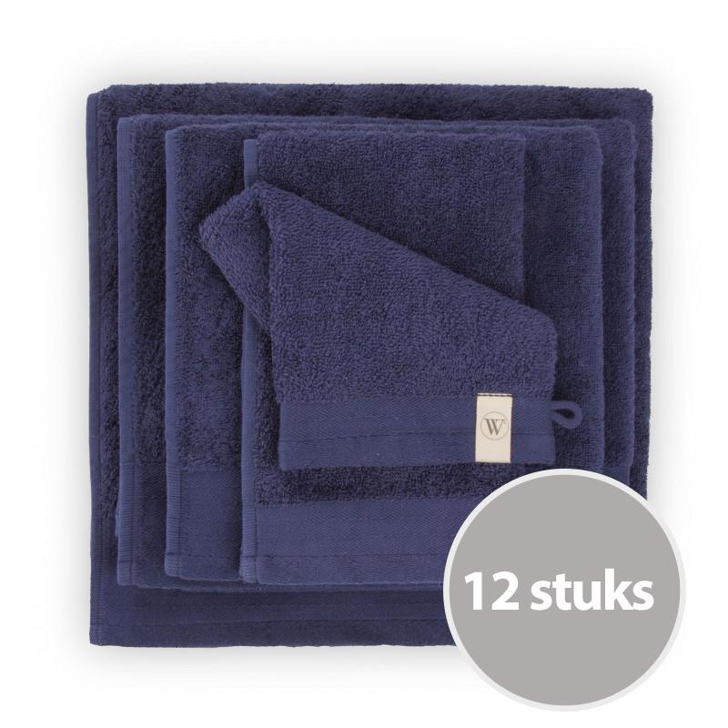 Walra Soft Cotton Voordeelpakket Washandjes Navy - 12 stuks