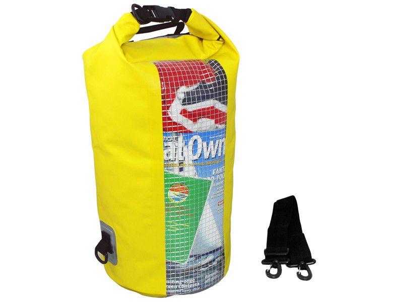 Overboard Dry Tube Bag met raampje Geel - 20 liter