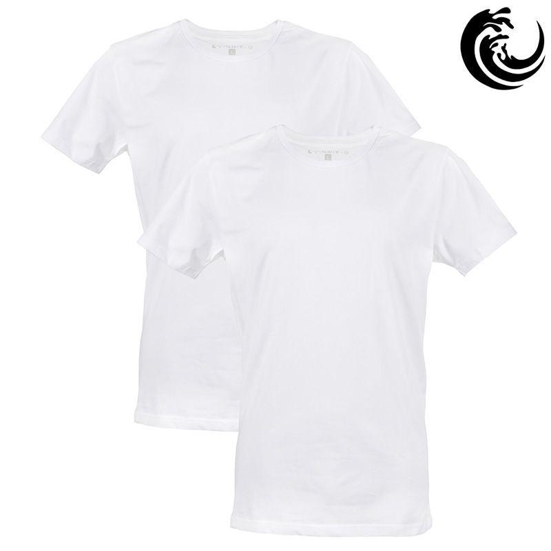 Vinnie-G Heren T-shirt Ronde hals Wit 2-pack