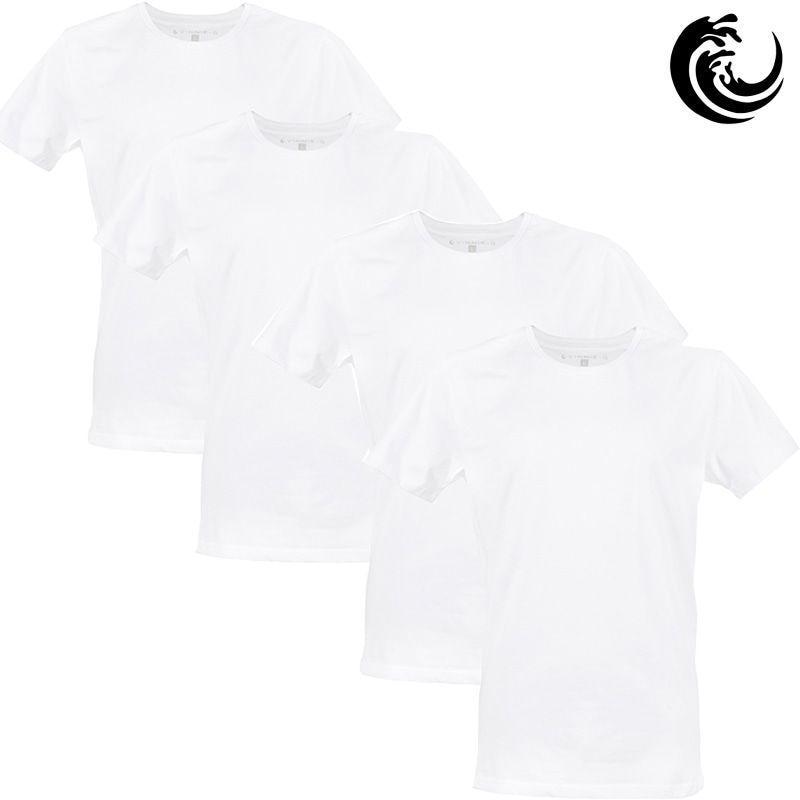 Vinnie-G Heren T-shirt Ronde hals Wit 4-pack