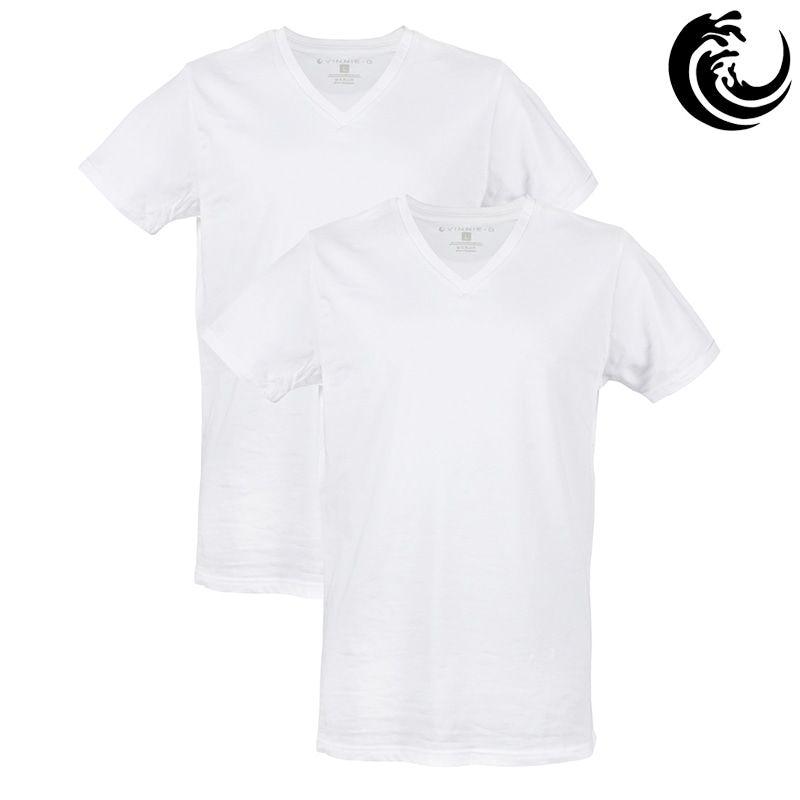 Vinnie-G Heren T-shirt V-hals Wit 2-pack