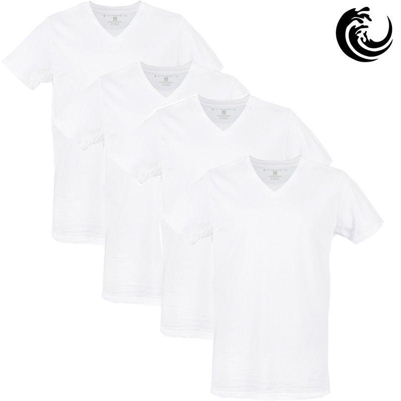 Vinnie-G Heren T-shirt V-hals Wit 4-pack
