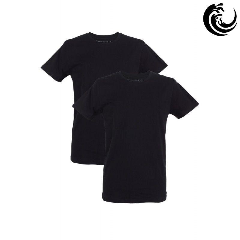 Vinnie-G Heren T-shirt Ronde hals Zwart 2-pack