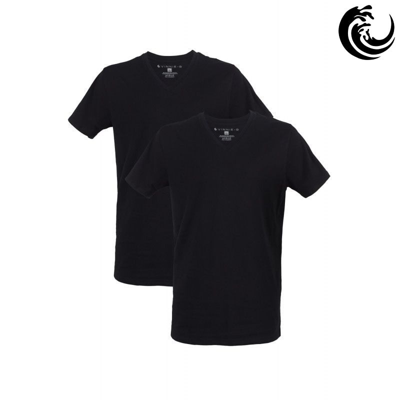 Vinnie-G Heren T-shirt V-hals Zwart 2-pack