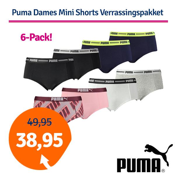 Dagaanbieding Puma Dames Mini Shorts Verrassingspakket 6-Pack